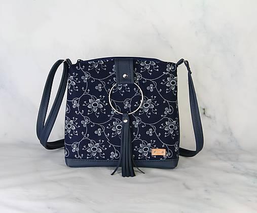 modrotlačová kabelka Lena tmavomodrá 3