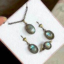 Sady šperkov - Vintage Bronze Natural Labradorite Set / Vintage sada šperkov s labradoritom prírodným v bronzovom prevedení - 13720377_