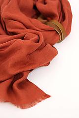 """Šály - Elegantný dámsky šál z ľanu a vlny oranžovo-tehlovej farby """"Jaune"""" - 13722149_"""