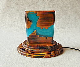Svietidlá a sviečky - Lampa z dreva a živice - 13721433_
