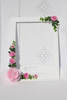 Rámiky - Svadobný dar - rám na svadobnú fotografiu s ružami - 13720363_