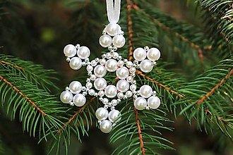Dekorácie - Vianočná ozdoba snehová vločka - strieborná - 13720737_