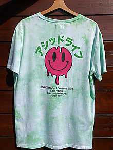 Tričká - Batikované tričko s potlačou - 13719854_
