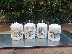 Svietidlá a sviečky - zimná sada sviečok 3 - 13721801_