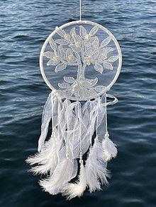 Dekorácie - Lapač snov Strom života -biely - 13724174_