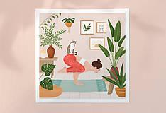 Grafika - Cvičení s kočkou - umělecký tisk - 13723179_