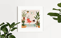Grafika - Cvičení s kočkou - umělecký tisk - 13723180_