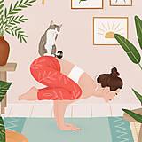Grafika - Cvičení s kočkou - umělecký tisk - 13723184_