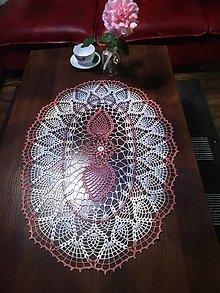 Úžitkový textil - Stredový obrus v staroružovo-bielej kombinácii - 13724978_