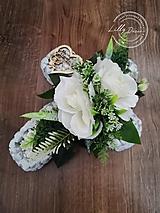 Dekorácie - Smútočný kameninový krížik na dušičky biely - 13724323_
