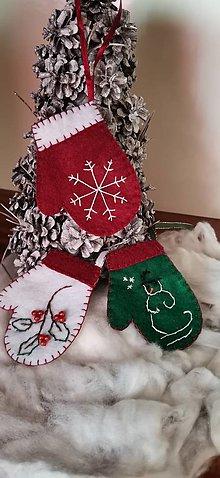 Dekorácie - Vianočné rukavičky - 13723869_