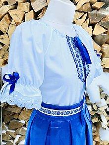 "Košele - Folklórna (ľudová) blúzka Katka v modrom-""slávnostná"" - 13725410_"