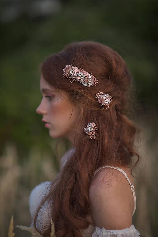 """Kvetinový  hrebienok a vlásenky """"čo šepká vánok"""" - ružová"""