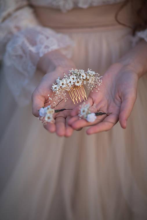 """Kvetinový  hrebienok a vlásenky """"čo šepká vánok"""" - ivory"""