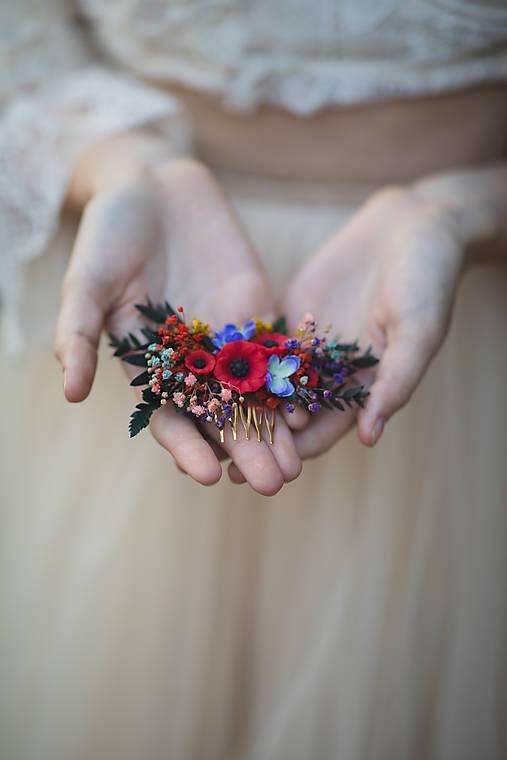 """Kvetinový folk hrebienok """"šťastná s tebou"""" - menší"""