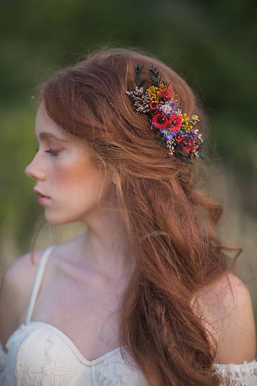"""Kvetinový folk hrebienok """"šťastná s tebou"""" - väčší"""