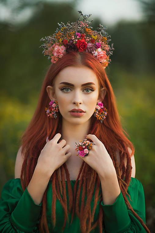 "Boho náušnice ""Frida"" - jesenné ruže"