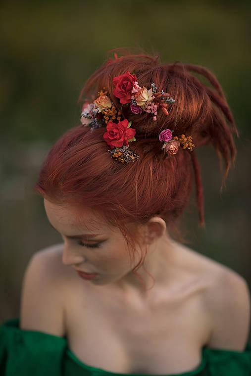 """Kvetinové vlásenky """"Frida"""" - jesenné ruže"""