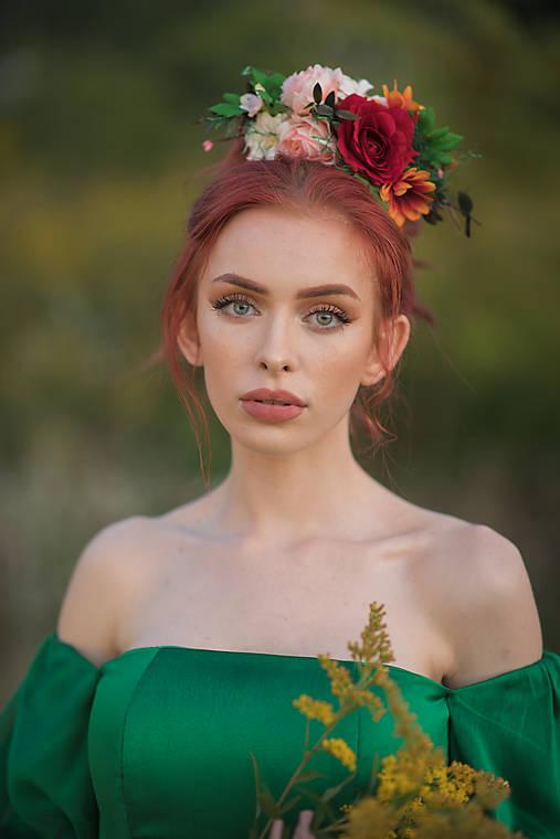 """Boho čelenka """"Frida"""" - červená ruža"""