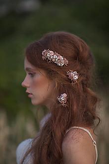 """Ozdoby do vlasov - Kvetinový  hrebienok a vlásenky """"čo šepká vánok"""" - ružová - 13722818_"""