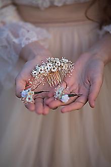 """Ozdoby do vlasov - Kvetinový  hrebienok a vlásenky """"čo šepká vánok"""" - ivory - 13722842_"""