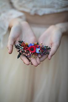 """Ozdoby do vlasov - Kvetinový folk hrebienok """"šťastná s tebou"""" - menší - 13722906_"""