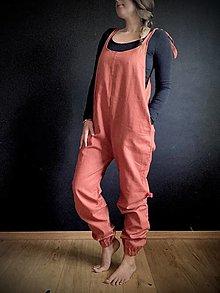 Iné oblečenie - Dlhé ľanové gaťuše (tehlová) - 13724442_