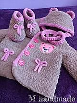 Detské súpravy - Ružovo-hnedý set na zimu pre dievčatko - 13724302_
