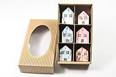 Magnetky - Sada drevených domčekov s magnetom - 6 ks - 13724249_
