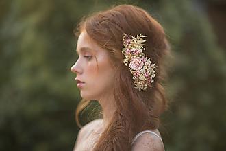 """Ozdoby do vlasov - Kvetinový hrebienok """"dotyk lásky na perách"""" - 13726417_"""