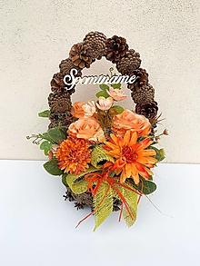 Dekorácie - Spomienková dekorácia- šiškový košík - 13727677_