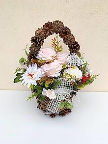 Dekorácie - Spomienková dekorácia- šiškový košík - 13727684_