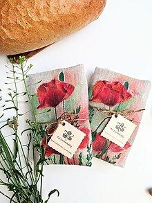 Úžitkový textil - Ľanové vrecúško na chlieb, maky - 13728293_