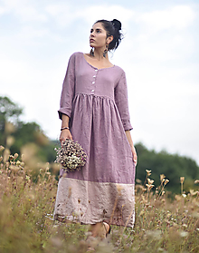 Šaty - Lněné maxišaty se zapínáním Mauve / Pudrové - 13728735_