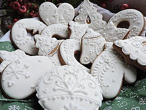 Dekorácie - Vianočná biela sada - 15 ks - 13730601_