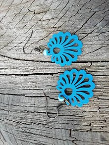 Náušnice - Náušničky vejáriky modré - 13730982_