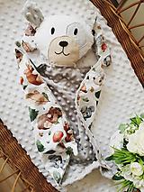 Hračky - Mojkacik psík sedy s motívom lesných zvieratiek - 13731879_