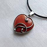 Náhrdelníky - Mini srdiečko - jaspis červený - 13731632_