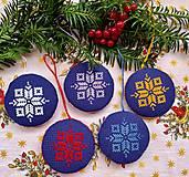 Dekorácie - Vianočné ozdoby vyšívané modré I - 13731775_