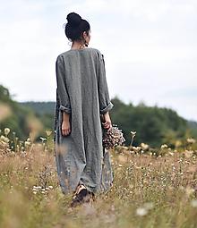 Kabáty - Lněný kabát Khaki - 13731239_