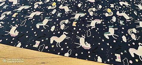 Textil - Úplet Jednorožec - cena za 10 cm (Modrá) - 13735933_