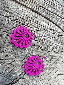 Náušnice - Náušničky vejáriky tmavo ružové - 13733035_