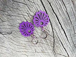 Náušnice - Náušničky vejáriky fialové - 13733039_
