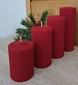 Svietidlá a sviečky - Sviečka z včelieho vosku červená - 13738722_