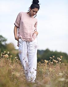 Nohavice - Lněné kalhoty bílé - 13739702_