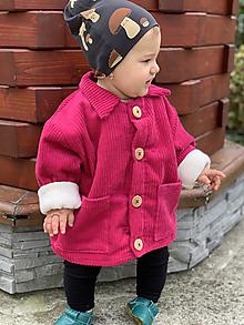 Detské oblečenie - Menčestrový detský kabátik Fuchsia - 13739848_