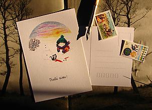 Papiernictvo - pohľadnica: z i m a - stavanie snehuliaka - 13740982_