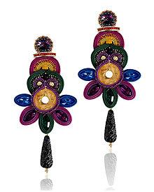 Náušnice - Soutache šujtášové náušnice Frida kvety - 13742780_