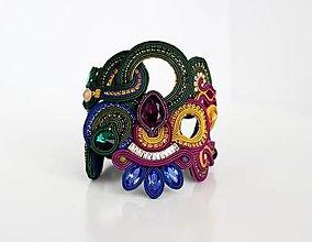 Náramky - Šujtášový soutache náramok Frida v jesenných farbách - 13742788_
