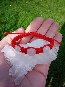 Náramky - Detský červený náramok s ruženínom - 13742723_